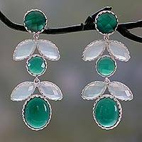Onyx and chalcedony flower earrings, 'Lush Flora' - Floral Indian Earrings with Onyx and Chalcedony