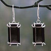 Smoky quartz dangle earrings, 'Smoky Chic' - Artisan Crafted Smoky Quartz Earrings from India