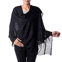 Wool blend shawl, 'Black Diamonds' - Black Wool and Viscose Shawl with Diamond Pattern