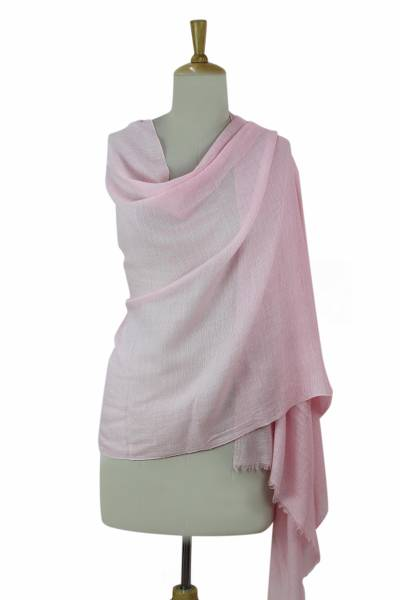 Wool blend shawl, 'Pink Diamonds' - Women's Pink Wool and Viscose Blend Woven Shawl