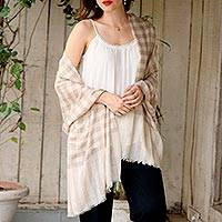 Cashmere shawl, 'Ladakh Luxury' - Checkered Cream and Beige Women's Pashmina Shawl from India