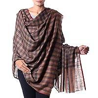 Cashmere shawl, 'Ladakh Highlands' - Women's Brown and Black Plaid Cashmere Wool Shawl