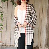 Cashmere shawl, 'Ladakh Lowlands' - Shawl Woven from Pure Pashmina in Off White and Black Plaid