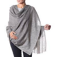 Cashmere shawl, 'Ladakh Labyrinth' - Woven Pashmina Shawl from India in Off White and Black