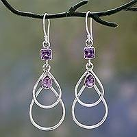 Amethyst dangle earrings, 'Purple Ice' - Contemporary Sterling Silver Earrings with Amethysts