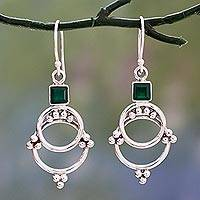 Onyx dangle earrings, 'Green Jaipur Magic'