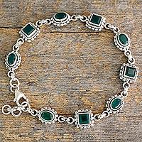 Green onyx link bracelet,