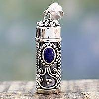 Lapiz lazuli prayer box pendant, 'Calmness' - Hand Crafted Sterling Silver and Lapis Prayer Box Pendant