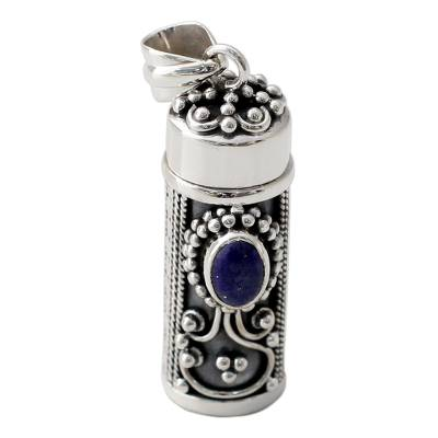 Hand Crafted Sterling Silver and Lapis Prayer Box Pendant