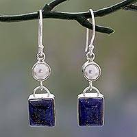 Lapis lazuli and cultured pearl dangle earrings,