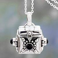 Onyx prayer box pendant necklace, 'Royal Prayer' - Square Prayer Box Pendant Necklace with Onyx