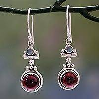 Garnet and rainbow moonstone dangle earrings, 'Misty Moon'
