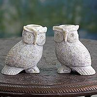Soapstone candle holders, 'Night Glow' (pair) - Hand Carved Soapstone Owl Candle Holders (Pair)