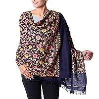Embroidered wool shawl,