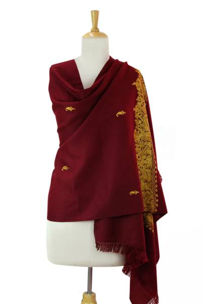 Embroidered wool shawl, 'Magnificent Wine' - Wine Red Wool Shawl with Golden Embroidery from india