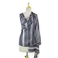 Modal shawl, 'Twilight Dreams' - Black and White Striped Modal Shawl from Indian Artisan