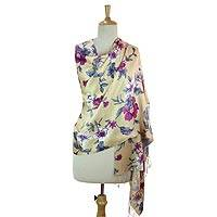 Rayon and silk blend shawl, 'Kashmir Garden' - Fair Trade Screen Printed Rayon and Silk Blend Shawl with Vi