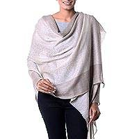 Wool and silk blend shawl, 'Kashmir Paisley' - Taupe and Off White Paisley Wool and Silk Blend Shawl