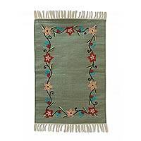 Embroidered cotton area rug, 'Sage Garden' (2x3) - Sage Green Area Rug with Colorful Floral Embroidery (2x3)