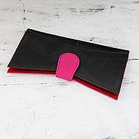 Upcycled rubber and cotton clutch handbag, 'Fuchsia Pop' - Eco Friendly Indian Clutch Handbag in Black and Hot Pink