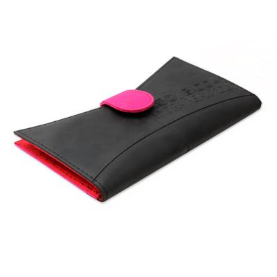 Eco Friendly Indian Clutch Handbag in Black and Hot Pink