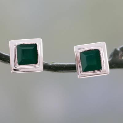 Green onyx stud earrings, 'Contemporary Squared' - Enhanced Green Onyx Stud Earrings in 925 Silver