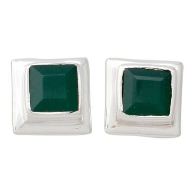 Enhanced Green Onyx Stud Earrings in 925 Silver