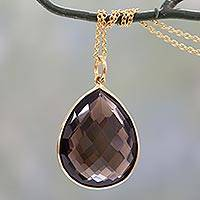 Gold vermeil and smoky quartz pendant necklace, 'Island Fantasy' - Gold Vermeil Pendant necklace with Smoky Quartz