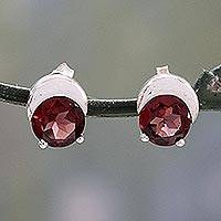 Garnet stud earrings,