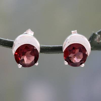 Garnet stud earrings, 'Beneath the Moon' - Sterling Silver and Garnet Stud Earrings from Indian Artisan