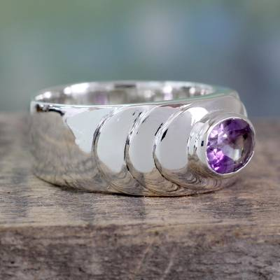 Amethyst band ring, 'Purple Splash' - Polished Sterling Silver Band Ring with 1.5 Carat Amethyst