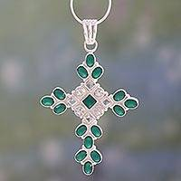 Green onyx and quartz cross pendant necklace, 'Brilliant Faith' - Green Onyx and Quartz Cross Pendant Necklace from India