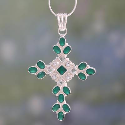 Green onyx and quartz cross pendant necklace, Brilliant Faith