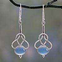 Chalcedony dangle earrings, 'Positive Path' - Light Blue Chalcedony Dangle Earrings in Silver 925 Settings