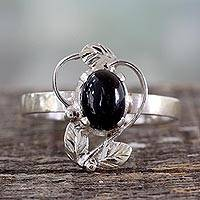 Onyx cocktail ring, 'Blackberry Blossom' - Ornate Handcrafted Silver and Onyx Cocktail Ring