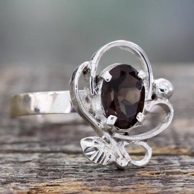 One Carat Smoky Quartz Cocktail Ring in Sterling Silver