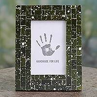 Glass mosaic photo frame, 'Forest Moss' (4x6) - Artisan Crafted Moss Green Glass Mosaic 4 x 6 Picture Frame