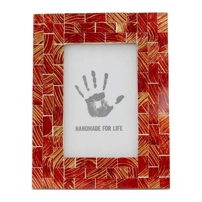 Handcrafted Glass Mosaic Red and Gold Photo Frame for 4 x 6