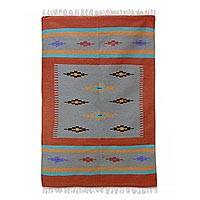 Wool dhurrie rug, 'Coral Galaxy' (4x6) - Colorful Wool Flatweave Area Rug from India (4x6)