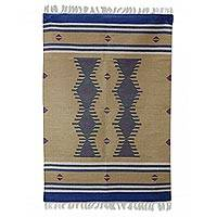 Wool area rug, 'Columns' (4x6) - Hand Loomed Wool Rug in Deep Khaki Blue and Grey (4x6)