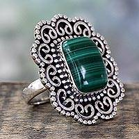 Malachite cocktail ring, 'Modern Mughal Medallion' - Handcrafted Ornate 925 Sterling Silver Ring with Malachite