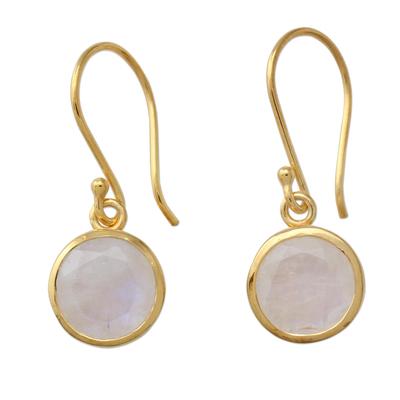 Indian Gold Vermeil Hook Earrings with Rainbow Moonstone
