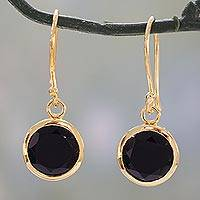 Vermeil onyx dangle earrings, 'Elite Discretion' - Indian Artisan Hand Crafted 22K Gold Over Sterling Silver Ve