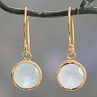 Vermeil chalcedony dangle earrings, 'Elite Discretion' - Gold Vermeil Earrings from India with Chalcedony