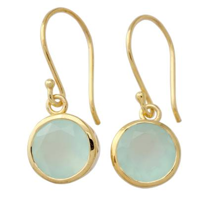 Gold Vermeil Earrings from India with Chalcedony