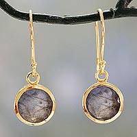 Vermeil labradorite dangle earrings,