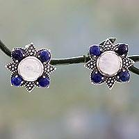 Lapis and rainbow moonstone button earrings,