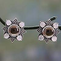 Smoky quartz and rainbow moonstone button earrings, 'Mughal Moonlight' (India)