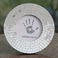 Glass mosaic photo frame, 'Silver Halo' (4x4) - Fair Trade Artisan Crafted Silver Glass Mosaic Round Photo F