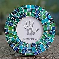 Glass mosaic photo frame, 'Aqua Mist' (4x4)